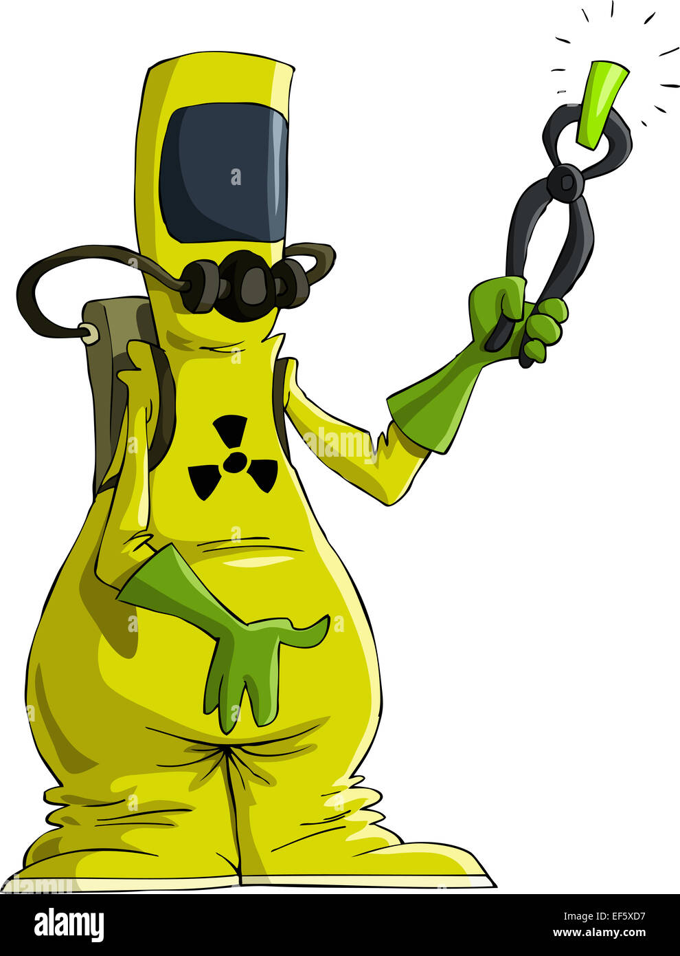 Cartoon man in radiation suit - Stock Image