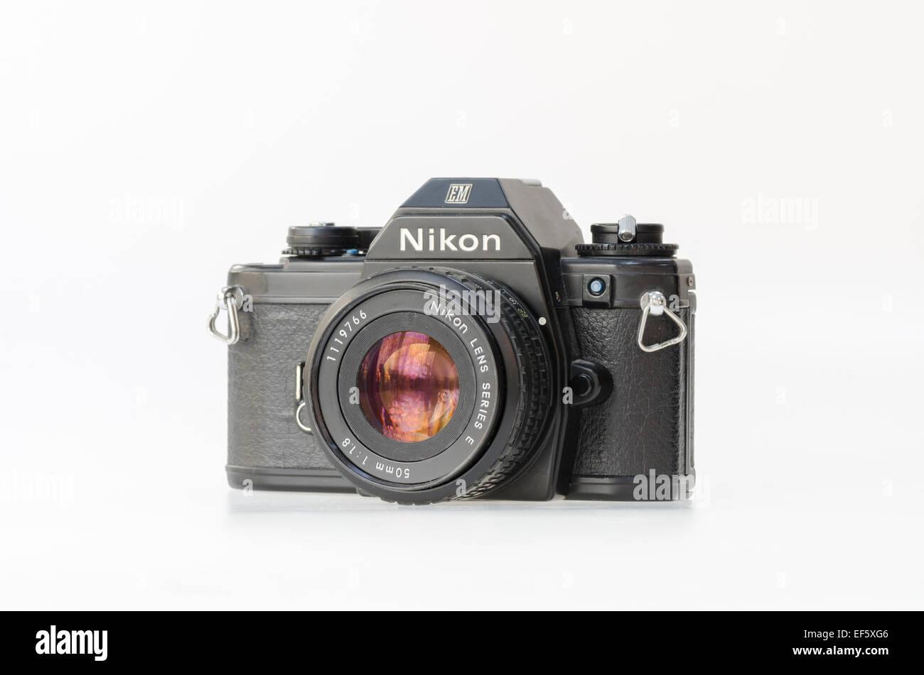 Black Nikon EM film slr camera - Stock Image