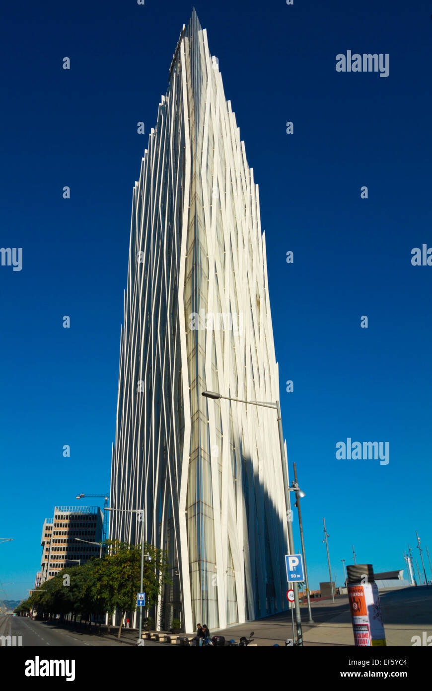 Torre Diagonal Zero Zero building, Forum area, Diagonal Mar, Sant Marti district, Barcelona, Spain - Stock Image