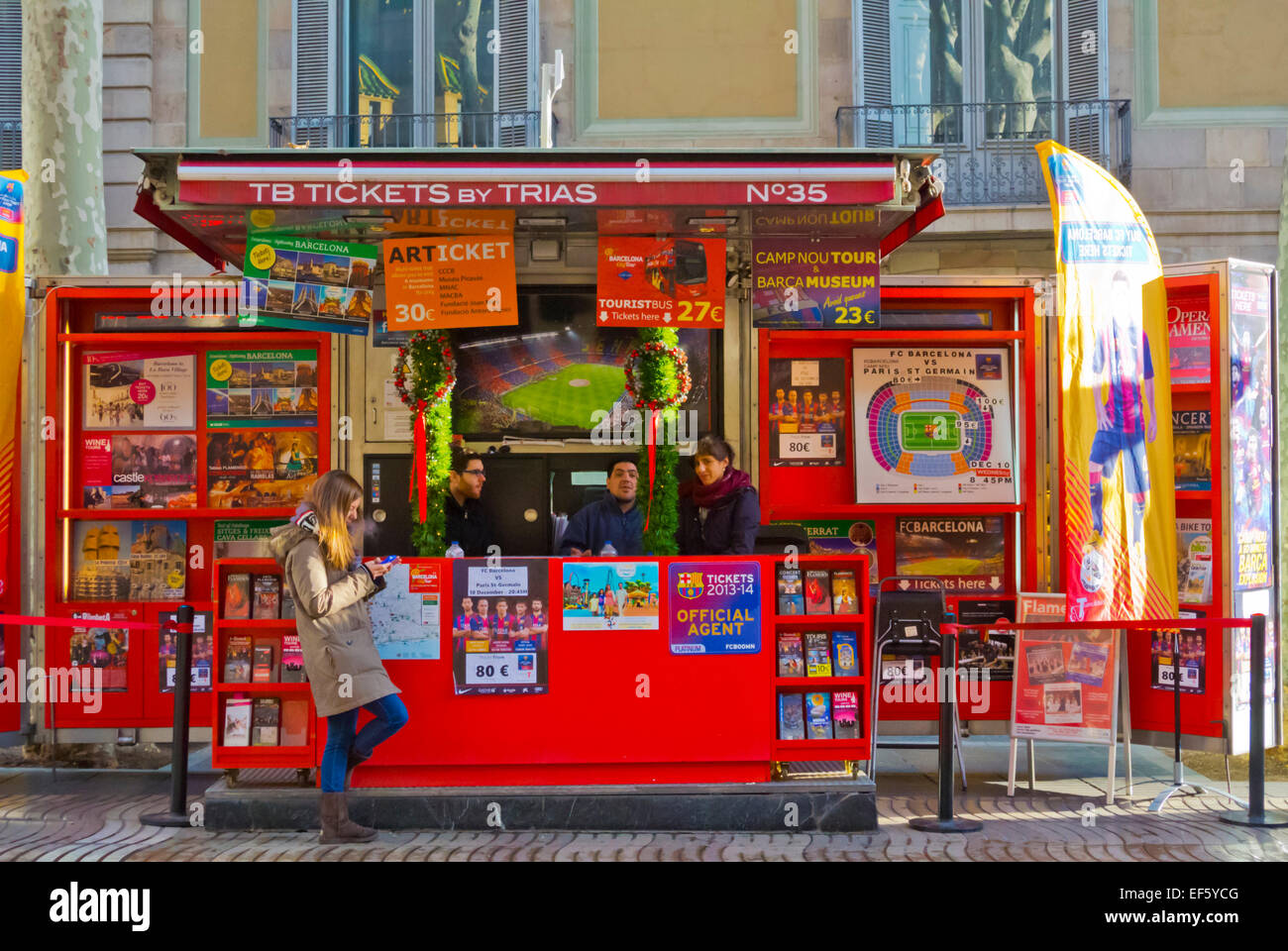 Booth selling FC Barcelona tickets and other tickets, Las Ramblas, Barcelona, Spain - Stock Image