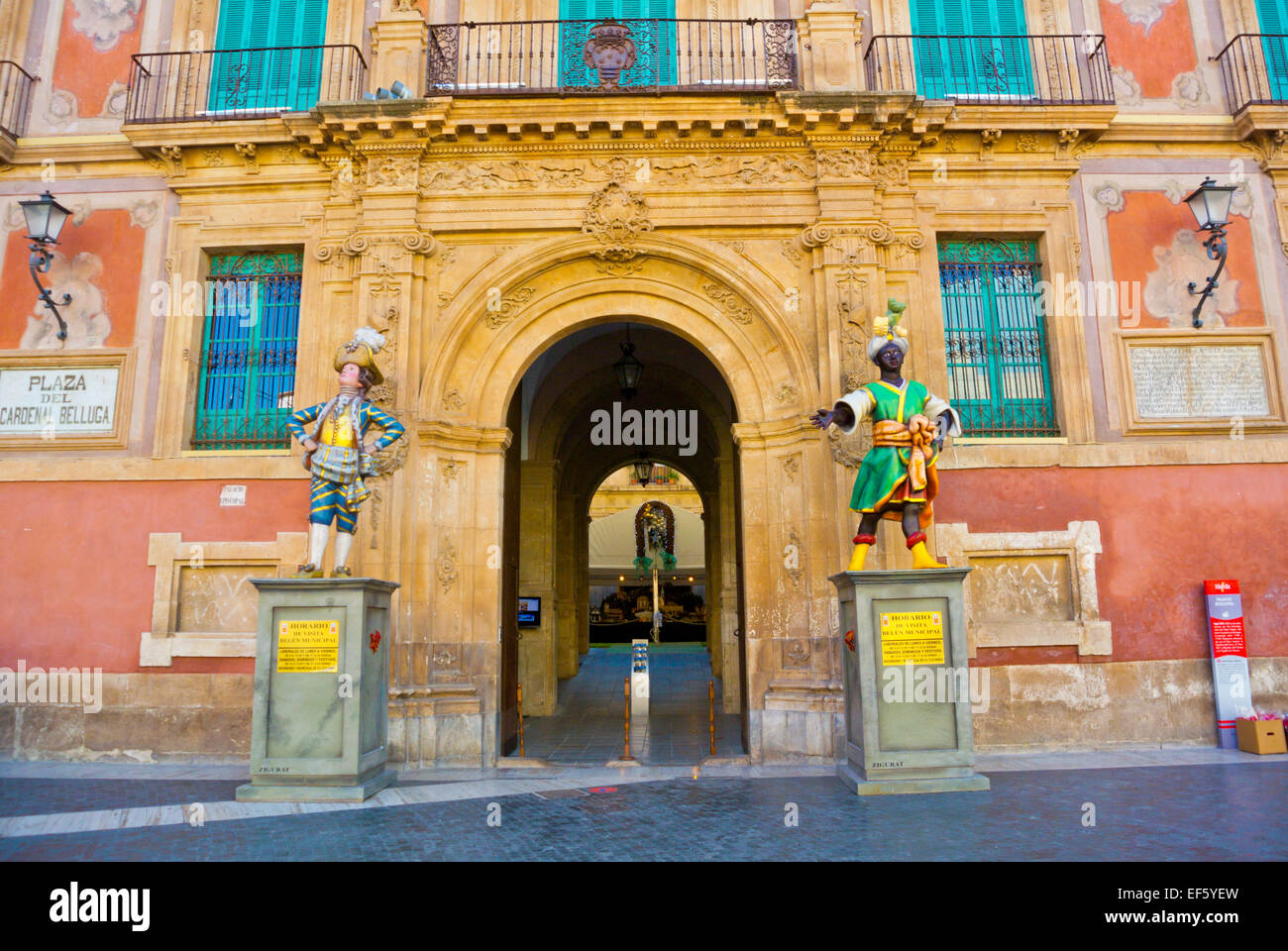 Palacio Episcopal, housing art gallery and exhibition spaces, Plaza del Cardenal Belluga square, old town, Murcia, Stock Photo