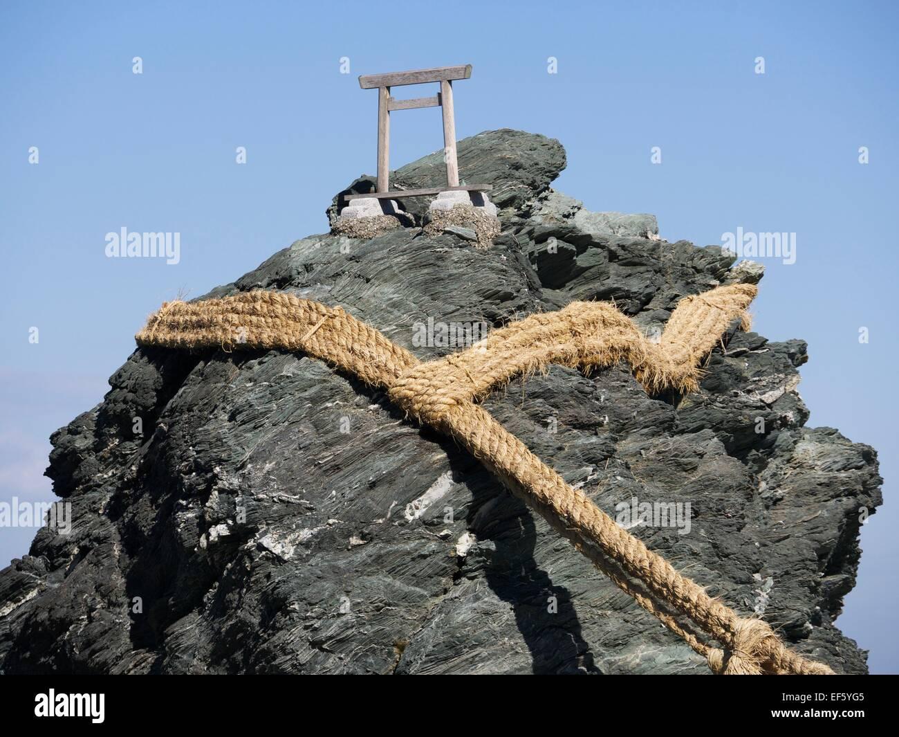 Miniature Torii Gate at Meoto Iwa in Japan - Stock Image