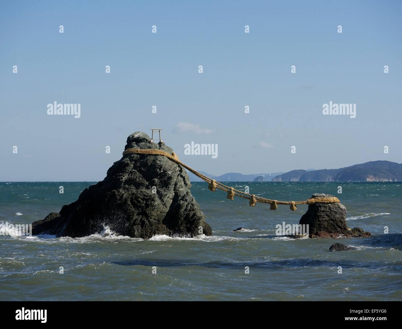Meoto Iwa in Mie Prefecture, Japan - Stock Image