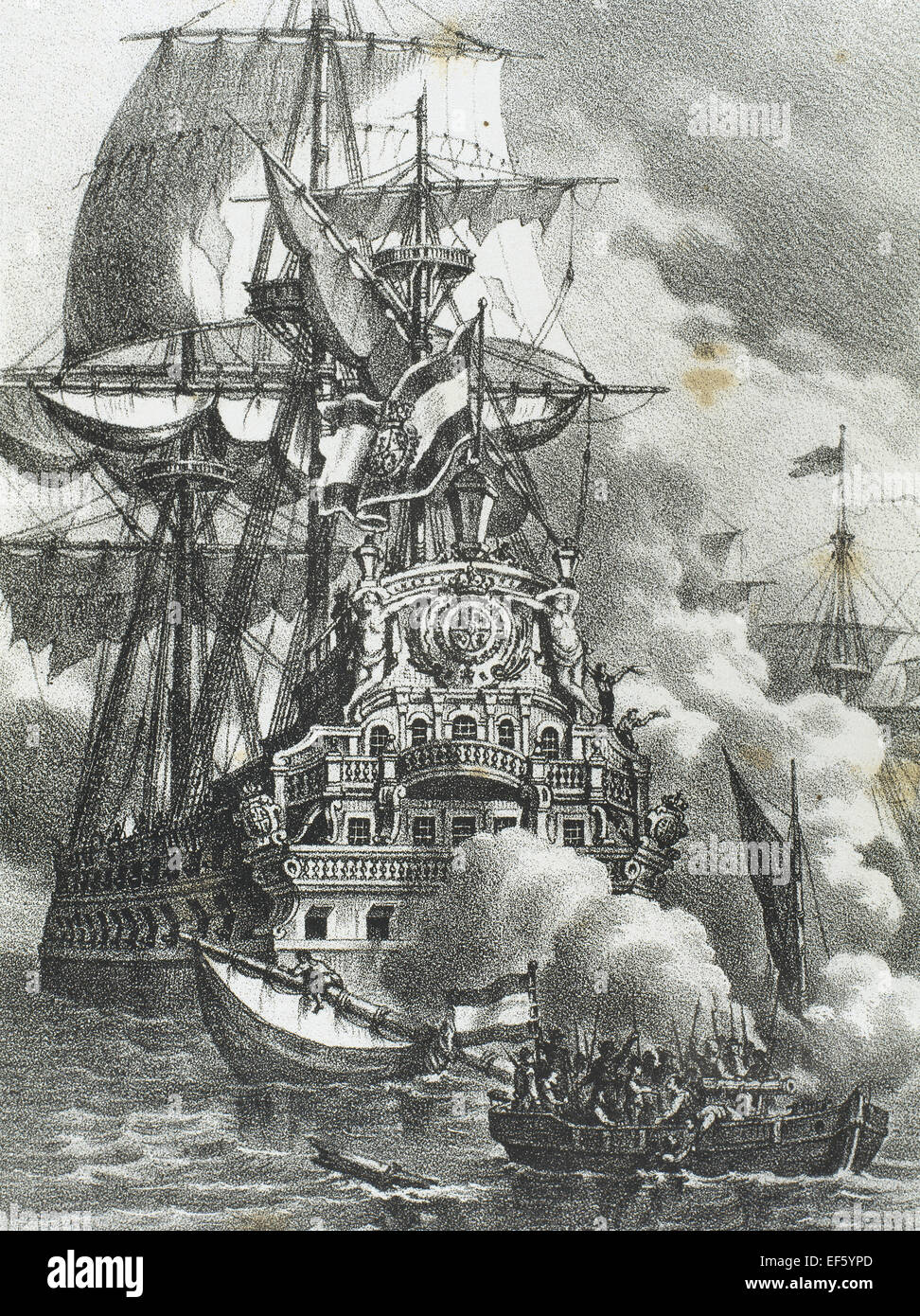 The Brethren or Brethren of the Coast attacking three Spanish galleons. They were a coalition of pirates and privateers - Stock Image