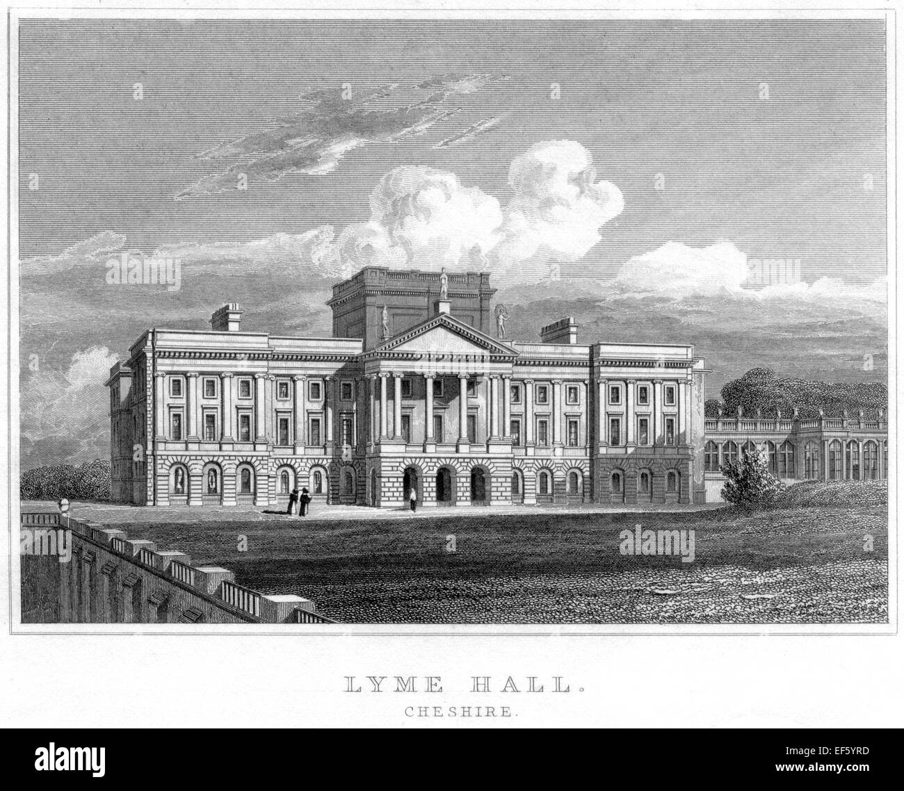 An engraving of Lyme Hall, Cheshire scanned at high resolution from a publication printed in 1830. - Stock Image
