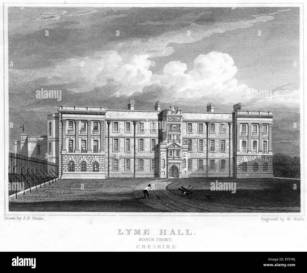 An engraving of Lyme Hall, North Front, Cheshire scanned at high resolution from a publication printed in 1830. - Stock Image
