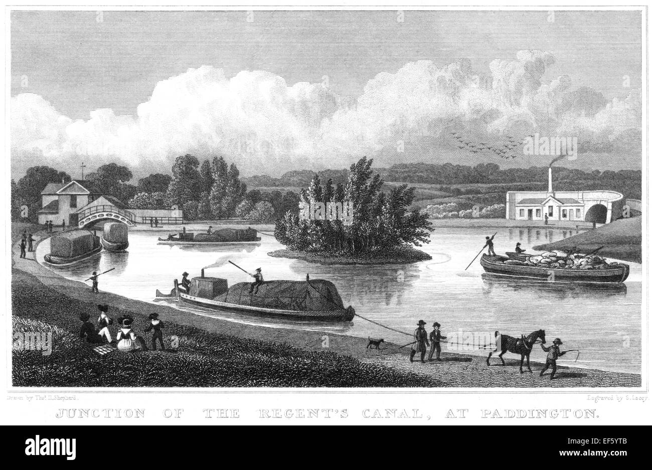 An engraving of the Junction of the Regents Canal, at Paddington scanned at high resolution from a publication printed Stock Photo