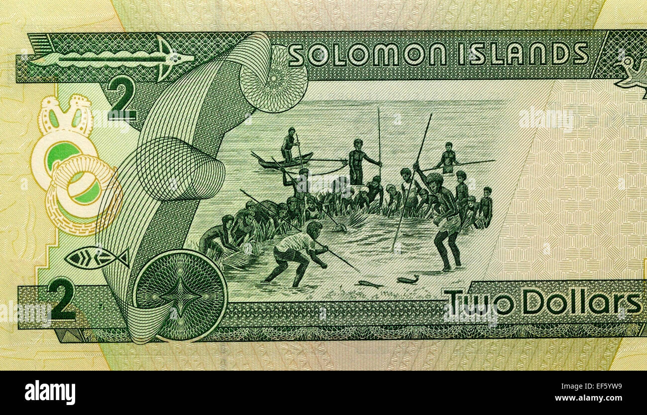 Solomon Islands 2 Two Dollar Bank Note - Stock Image