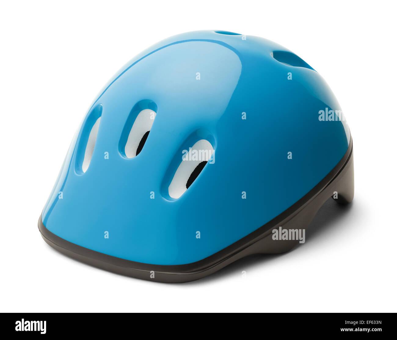 Blue Plastic Bike Helmet Isolated on White Background. - Stock Image