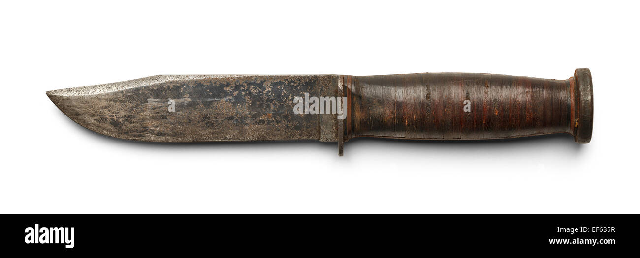 Worn Buck Knife Side View Isolated on White Background. - Stock Image