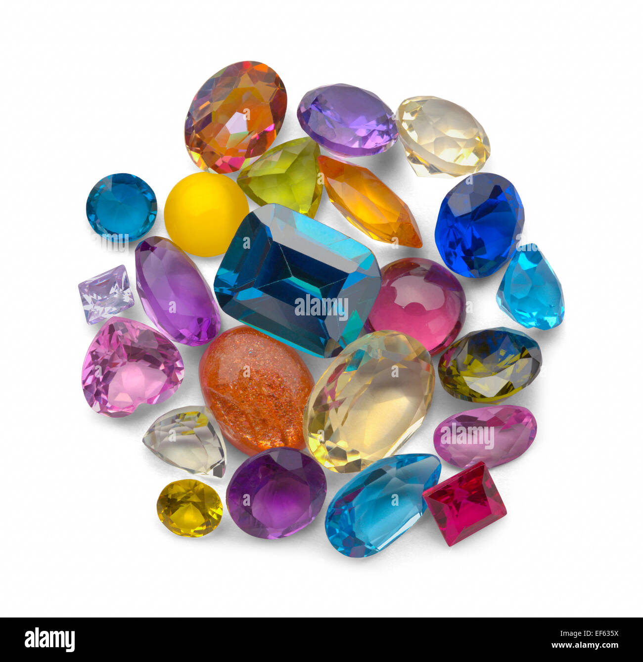 Loose Colorful Jewels Isolated on White Background. - Stock Image