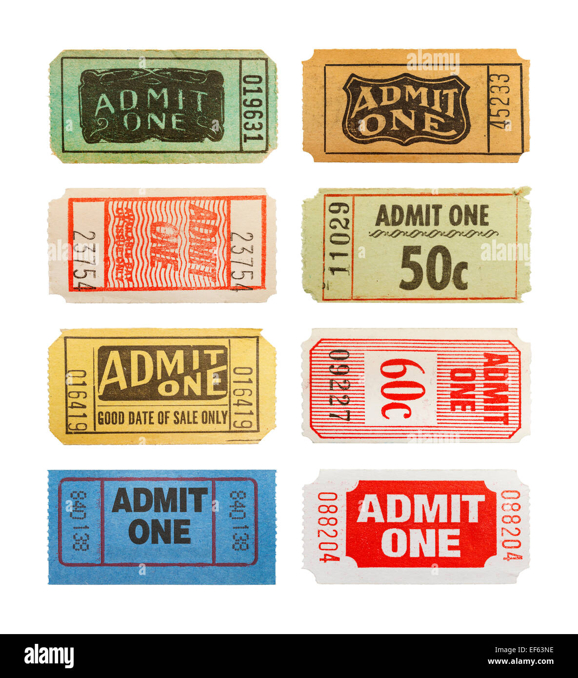 Selection Of Different Old Admit One Tickets Isolated on White Background. - Stock Image