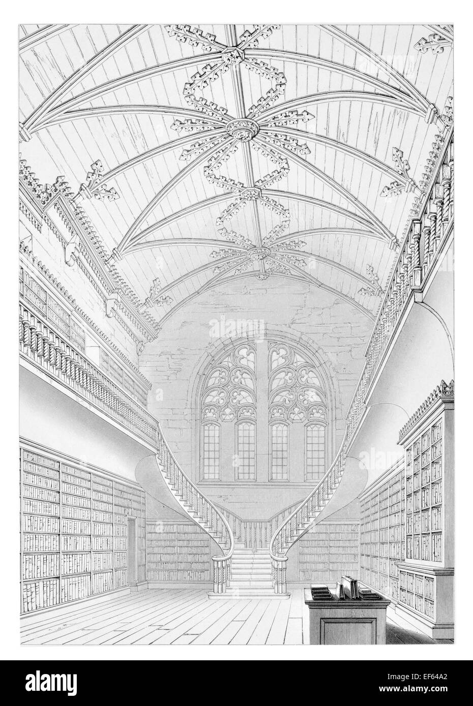 1852 Kings College Aberdeen  University Library Interior - Stock Image