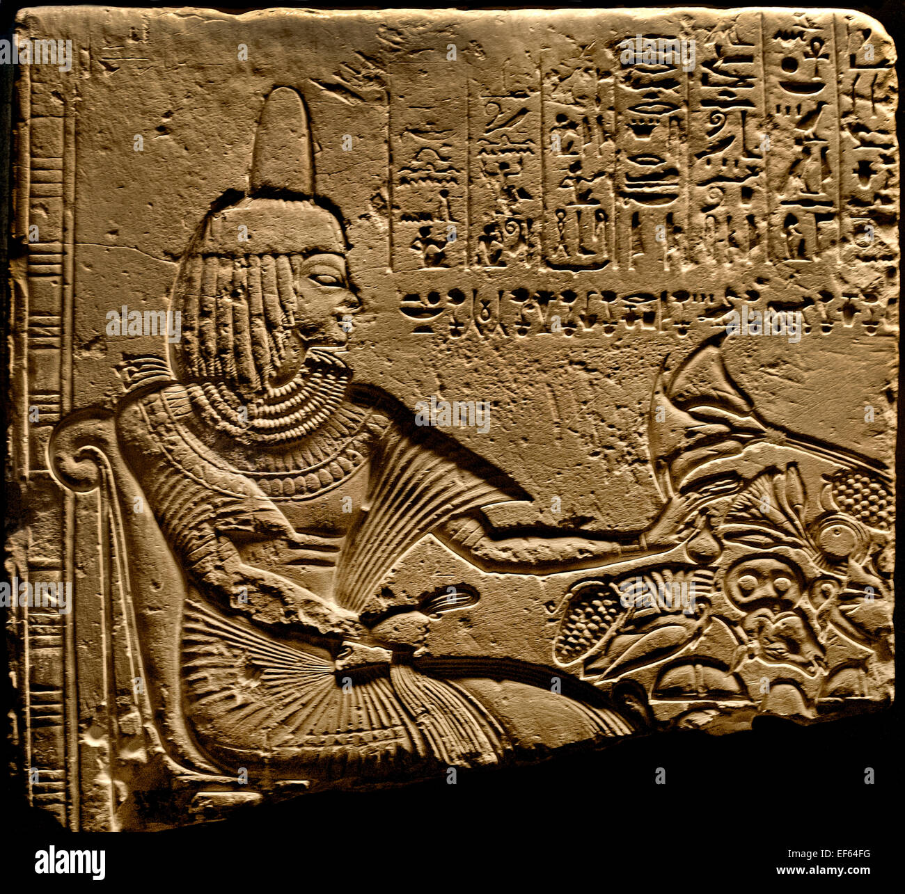 Funerary  stele of Meh Thebes 18 Dynasty 1650 Bc  Egypt Egyptian  ( Vatican Museum Rome Italy ) - Stock Image
