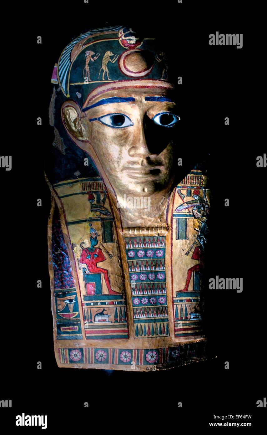 Funerary mask of Nimaatre ( Amenemhat (III) Nimaatre pharaoh )   Fayum Egypt  2 Century BC ( Vatican Museum Rome - Stock Image