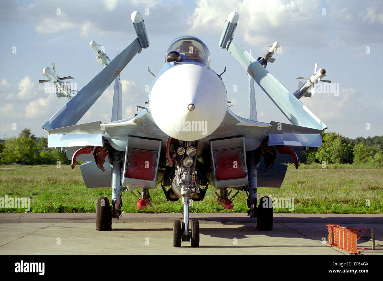 Carrier-based fighter Su-33. Zhukovsky, air show MAKS-99. 1999. - Stock Image