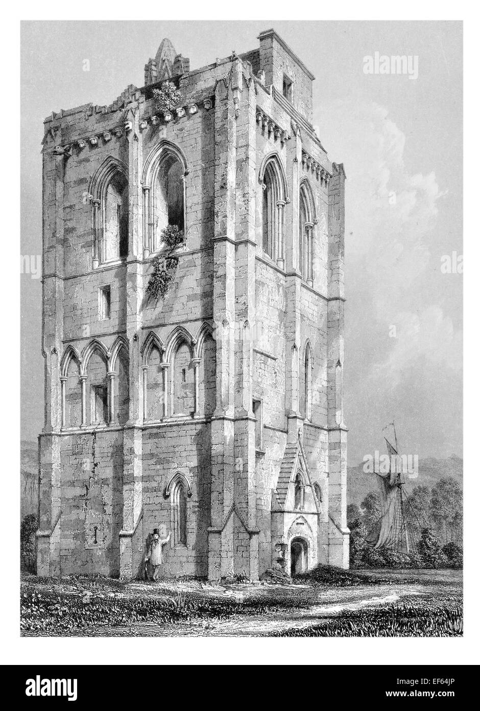 1852 Cambuskenneth  Camas Choinnich Tower Abbey, City of Stirling, Scotland - Stock Image