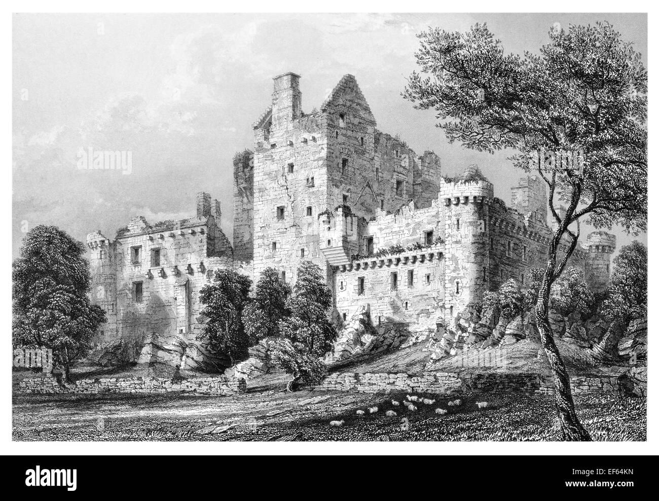 1852 Craigmillar Castle  ruined medieval castle Edinburgh Stock Photo