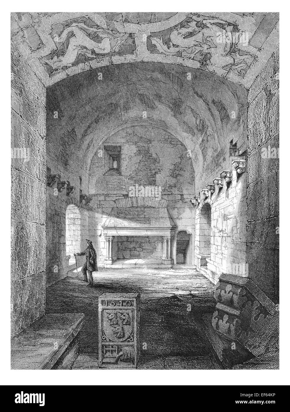 1852 Interior Keep Tower Craigmillar Castle  ruined medieval castle Edinburgh Stock Photo
