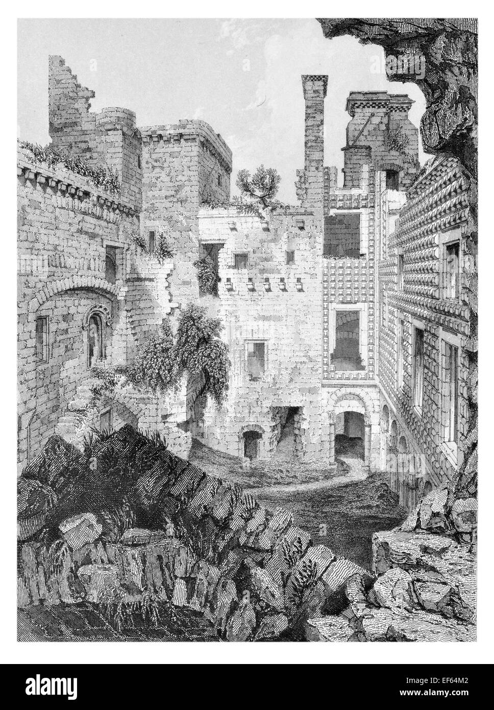 1852 Court Yard Crichton  ruined Castle Pathhead, Midlothian - Stock Image
