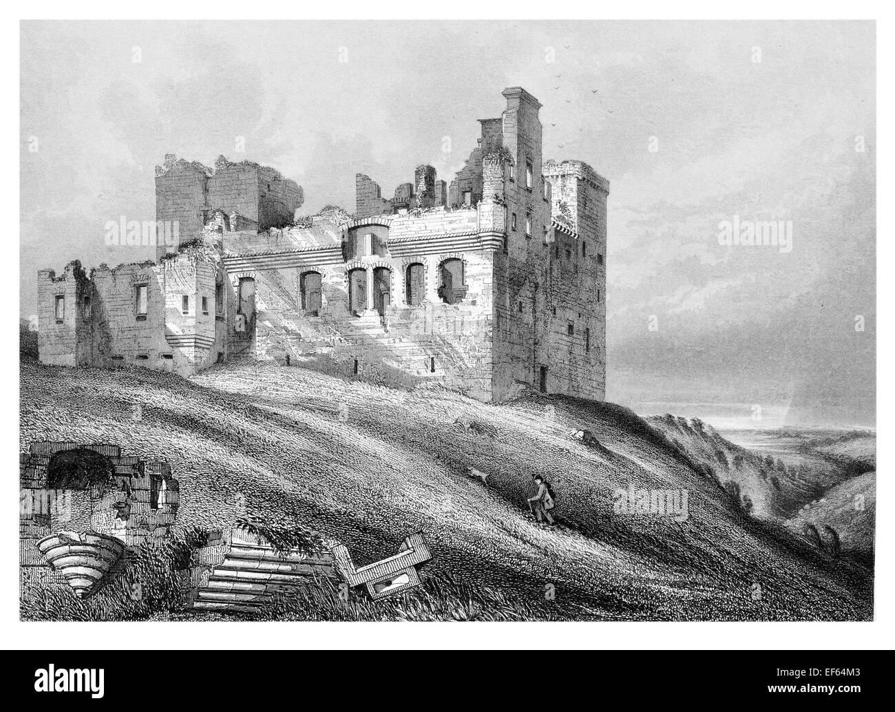 1852 Crichton  ruined Castle Pathhead, Midlothian - Stock Image