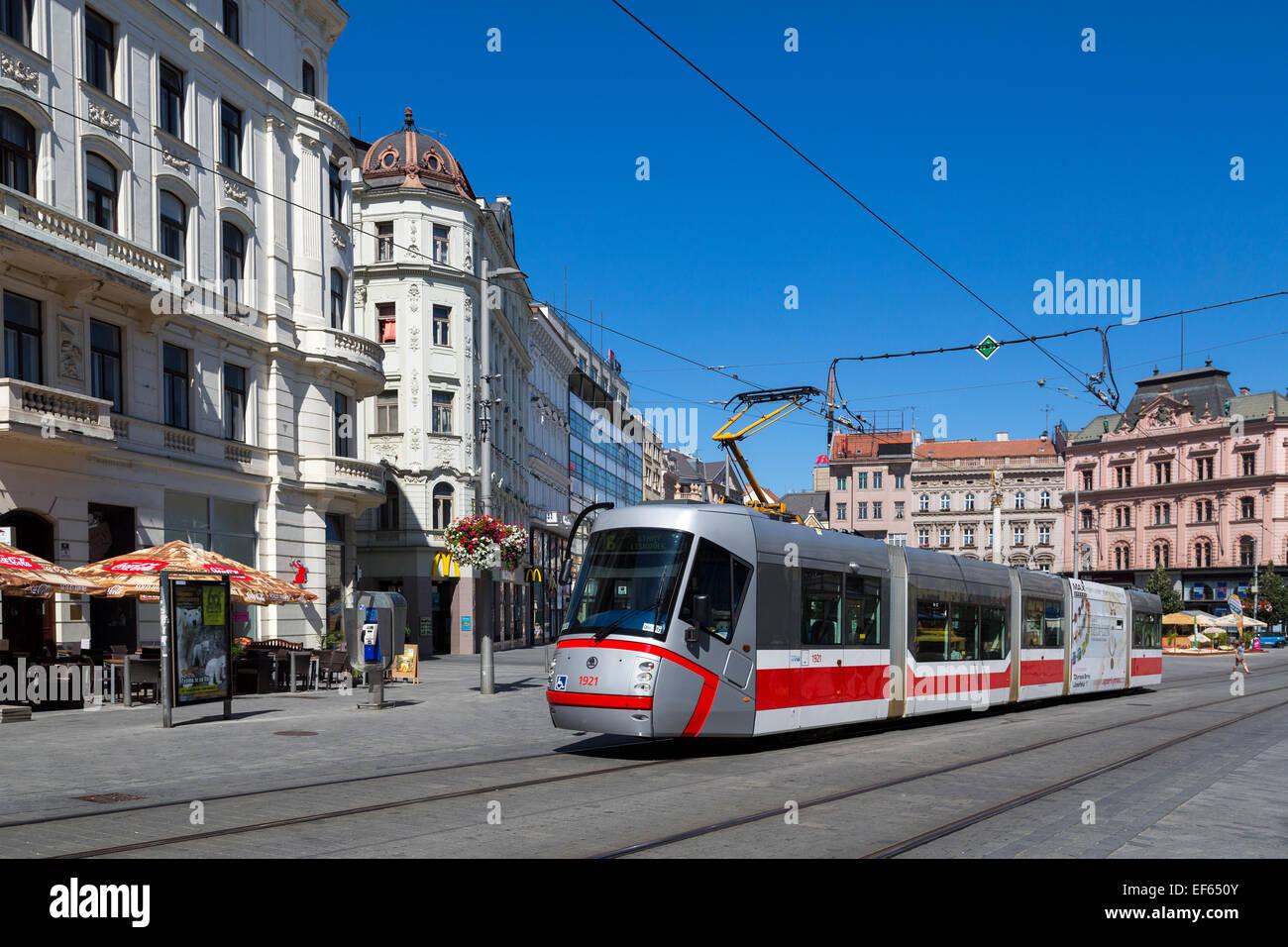 Public transport tram, Brno, Czech Republic, Europe - Stock Image