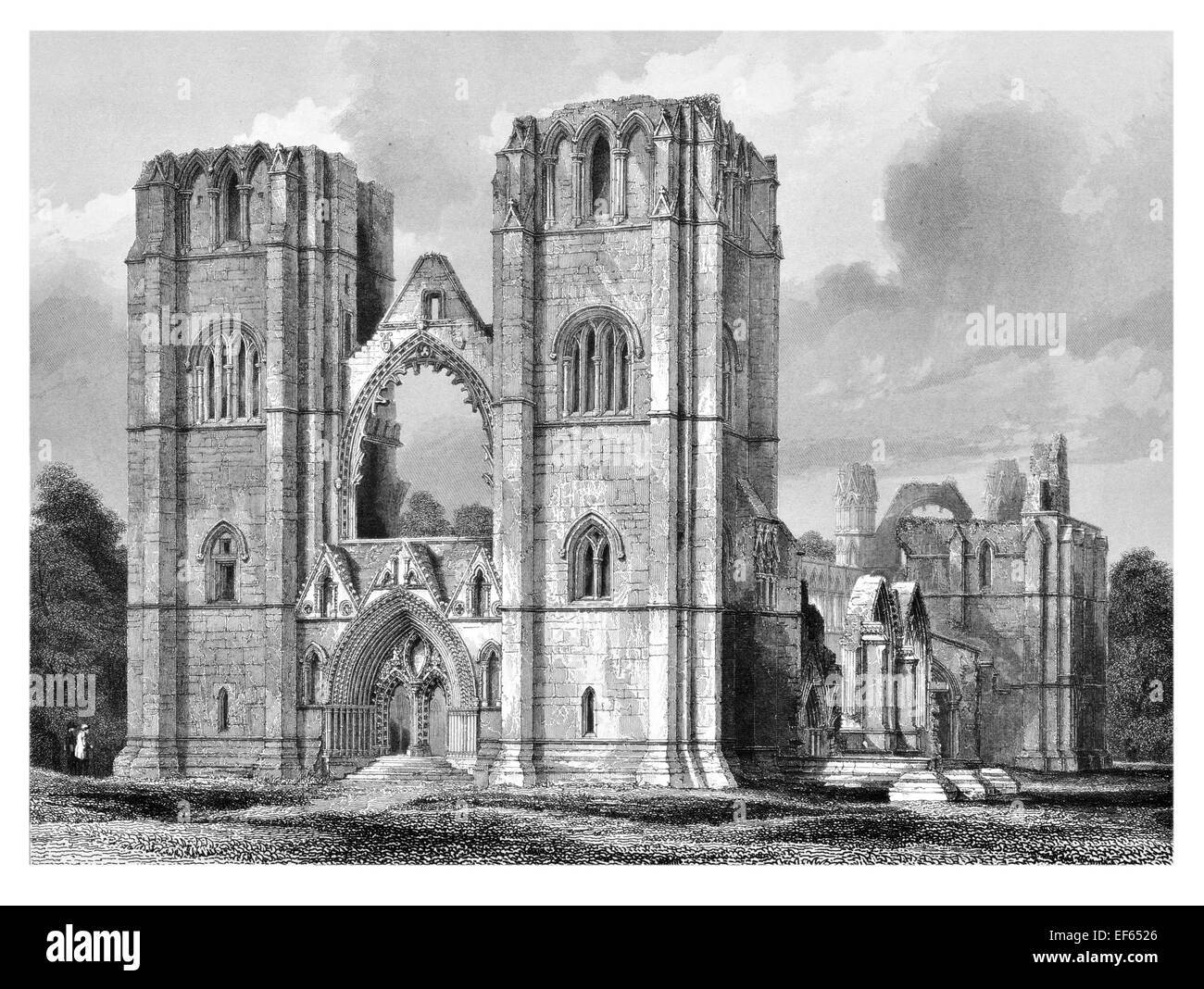 1852 West front Elgin Eilginn  Ailgin  cathedral city Royal Burgh Moray ruin Holy Trinity - Stock Image