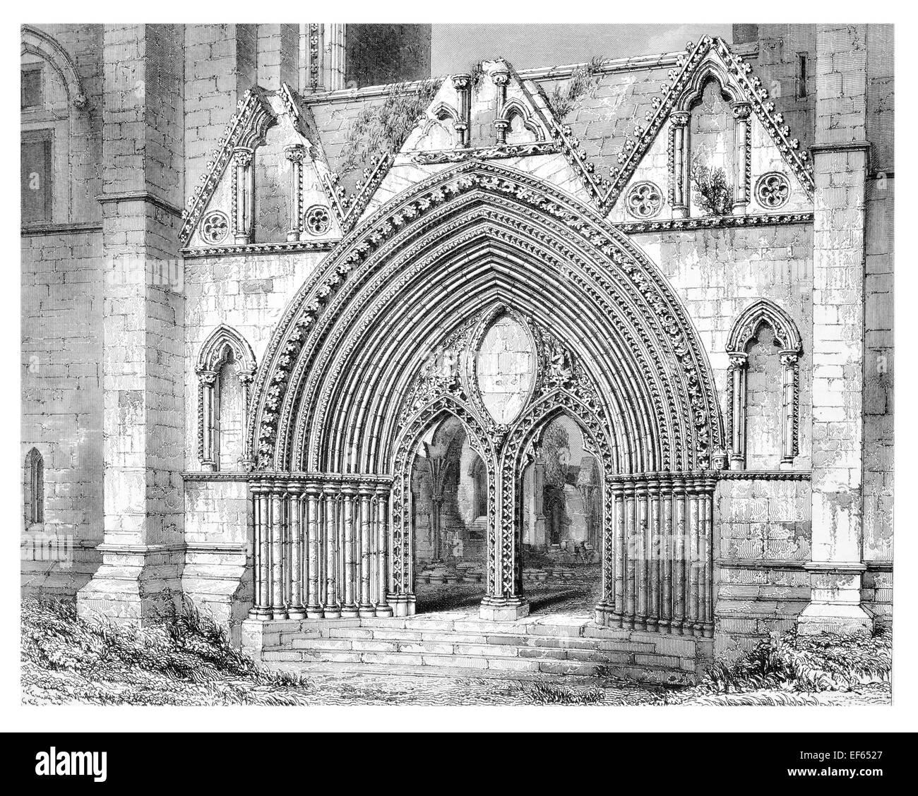 1852  West Doorway Elgin Eilginn  Ailgin  cathedral city Royal Burgh Moray ruin Holy Trinity - Stock Image