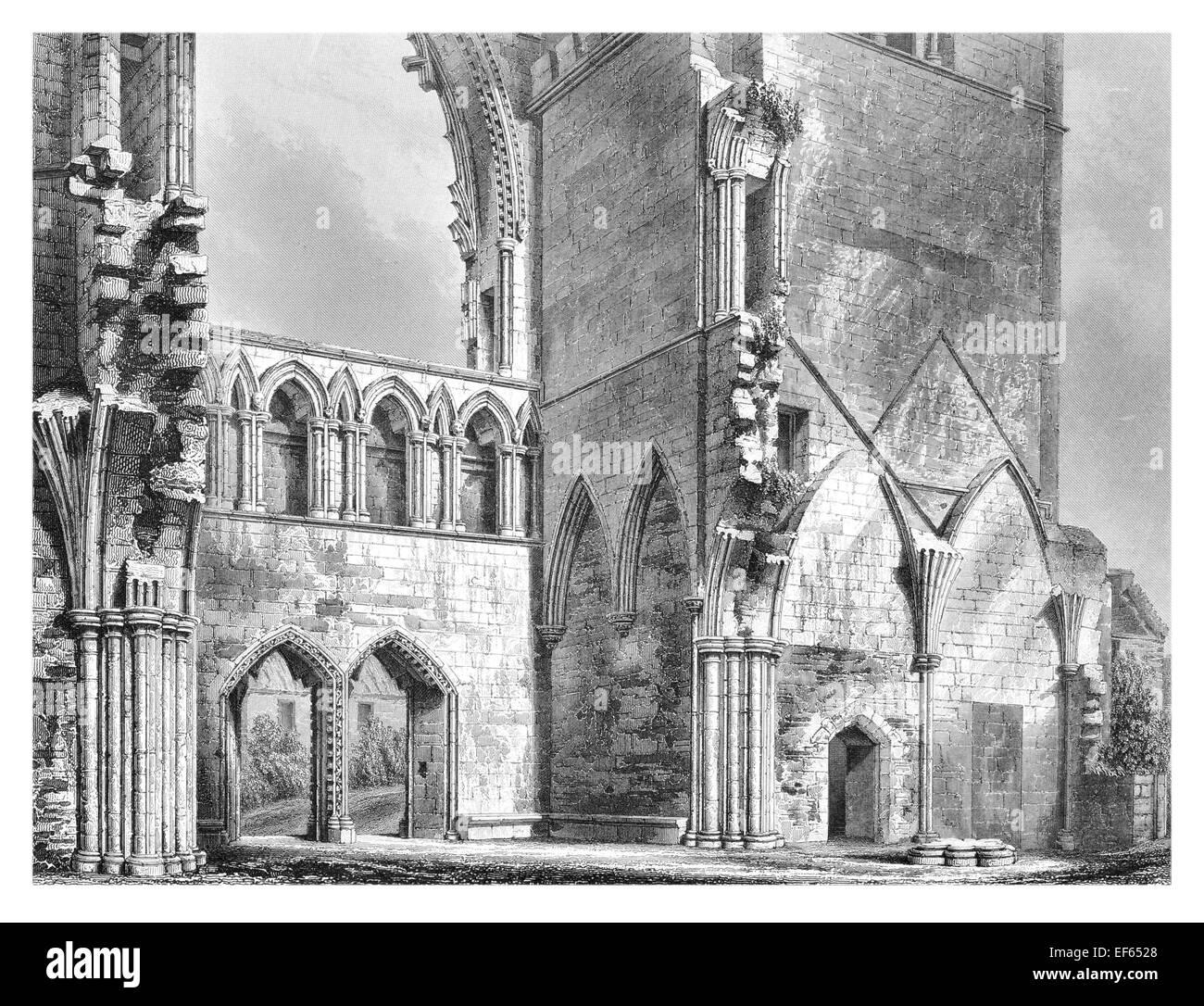 1852 Elgin Eilginn  Ailgin  cathedral city Royal Burgh Moray ruin Holy Trinity Interior west end - Stock Image