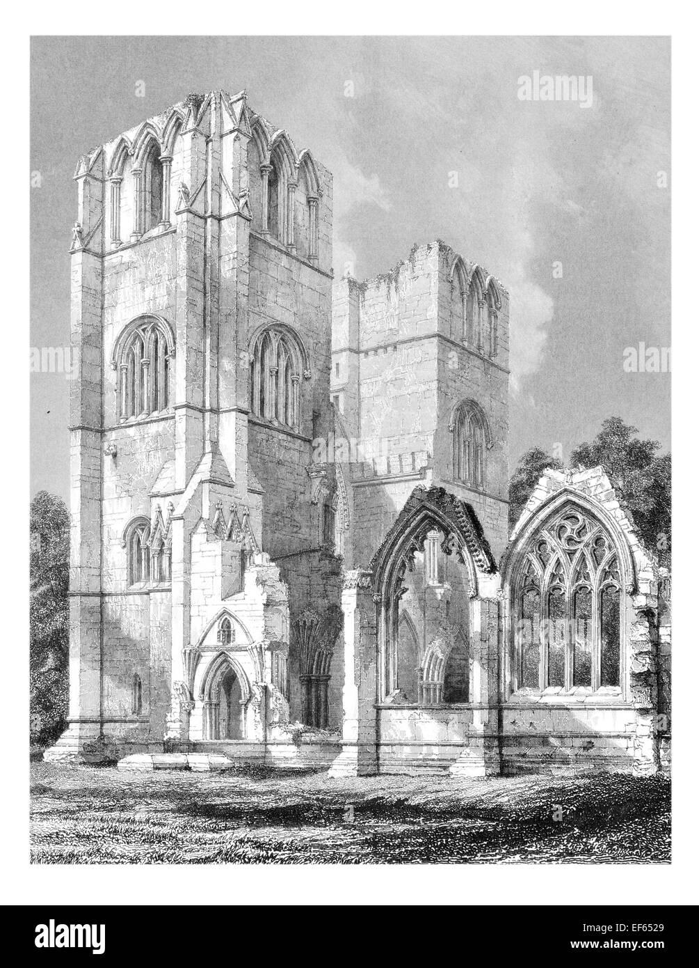 1852  Elgin Eilginn  Ailgin  cathedral city Royal Burgh Moray ruin Holy Trinity Western Tower south side - Stock Image
