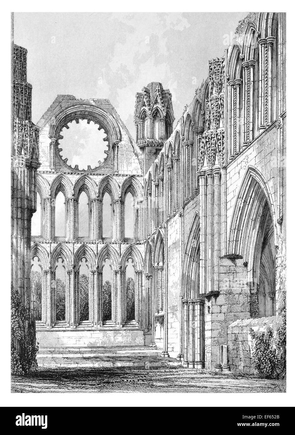1852  Elgin Eilginn  Ailgin  cathedral city Royal Burgh Moray ruin Holy Trinity Choir - Stock Image