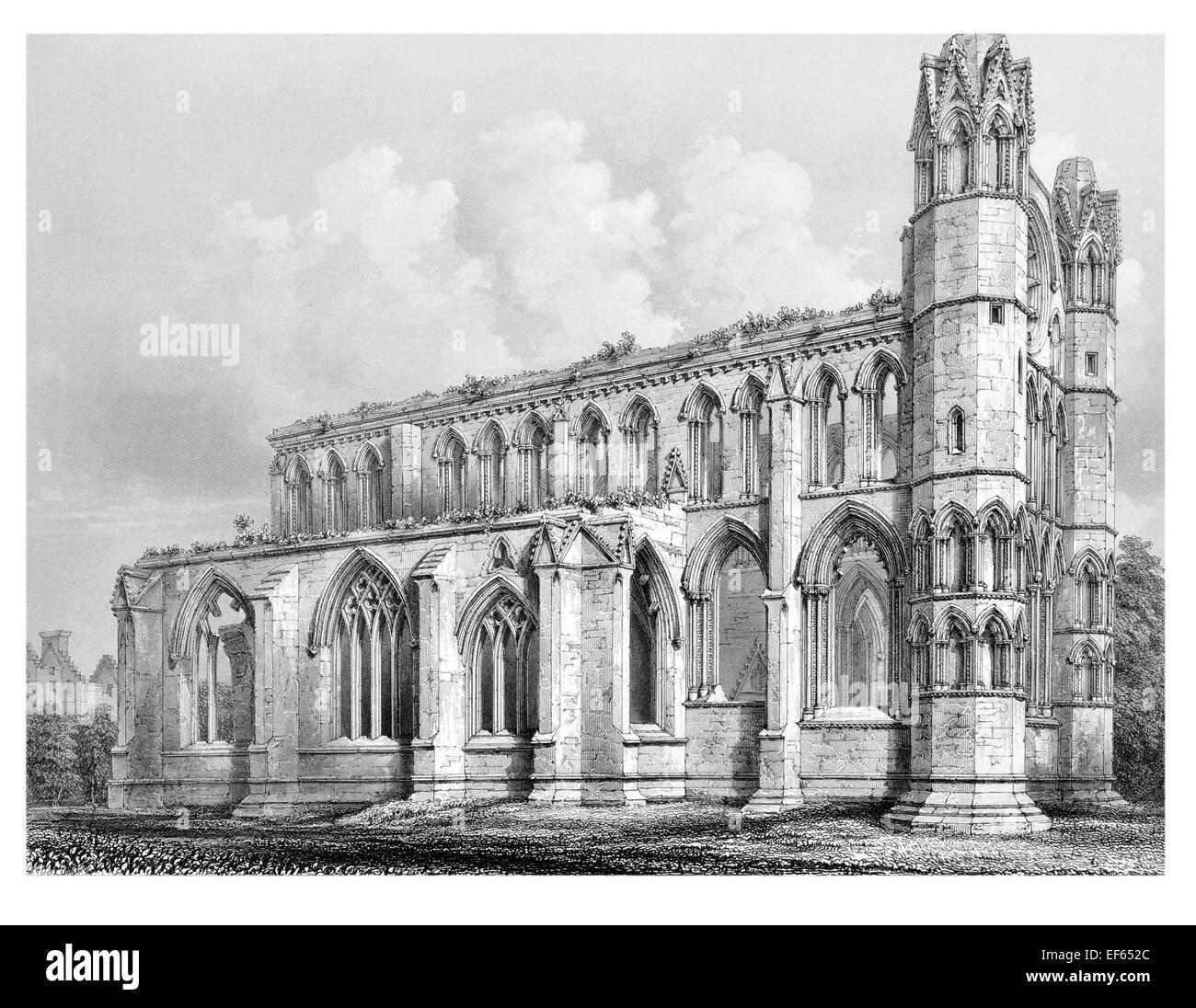 1852  Elgin Eilginn  Ailgin  cathedral city Royal Burgh Moray ruin Holy Trinity Choir from south east - Stock Image