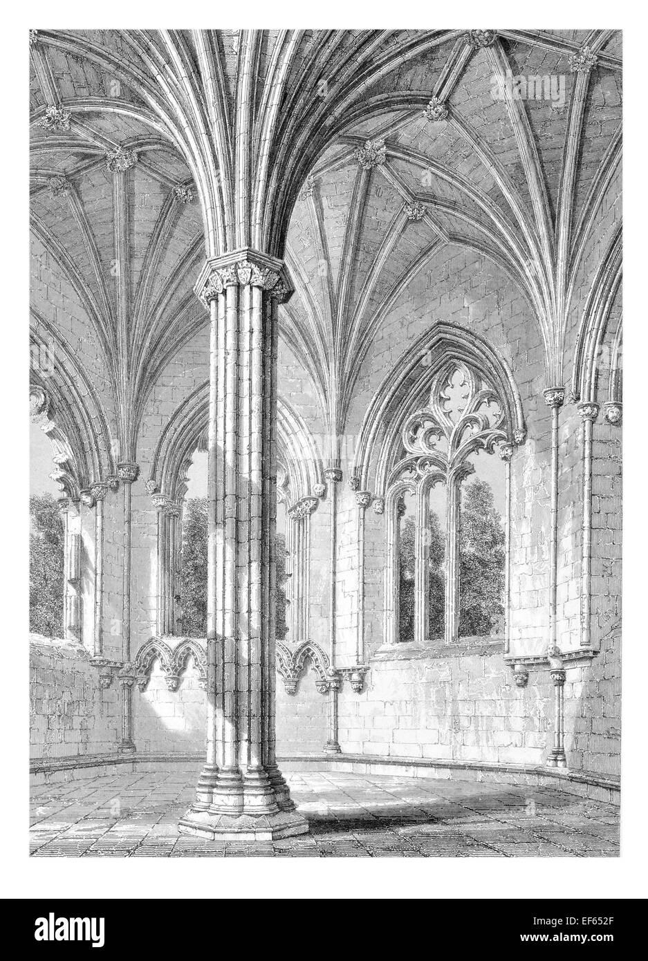 1852 Elgin Eilginn  Ailgin  cathedral city Royal Burgh Moray ruin Holy Trinity Chapter House - Stock Image