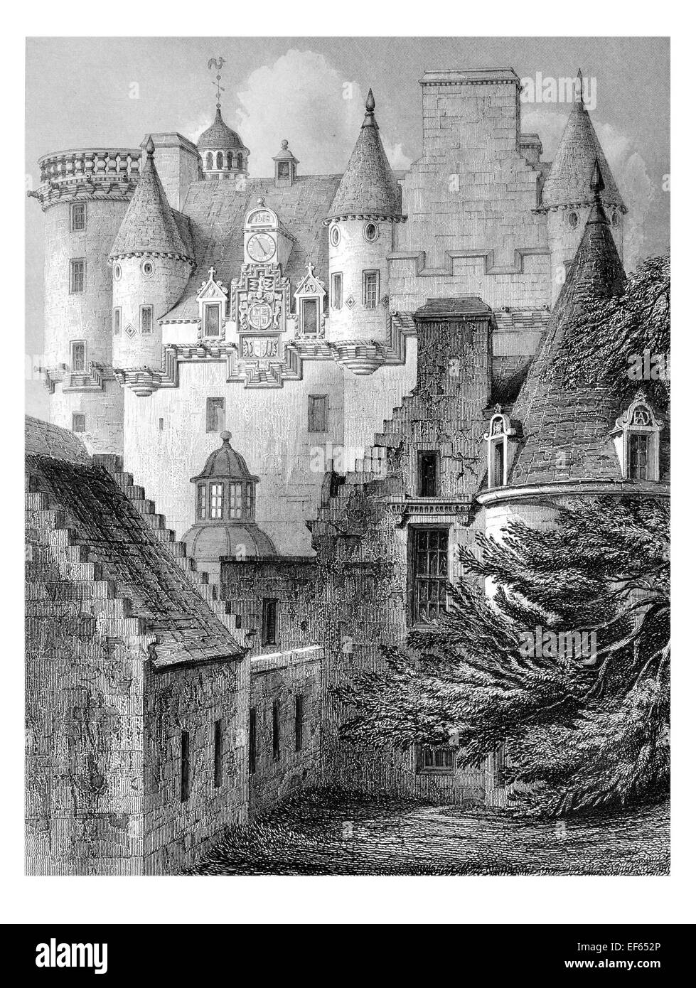 1852 Z-plan Castle Fraser Mar Kemnay  Aberdeenshire - Stock Image