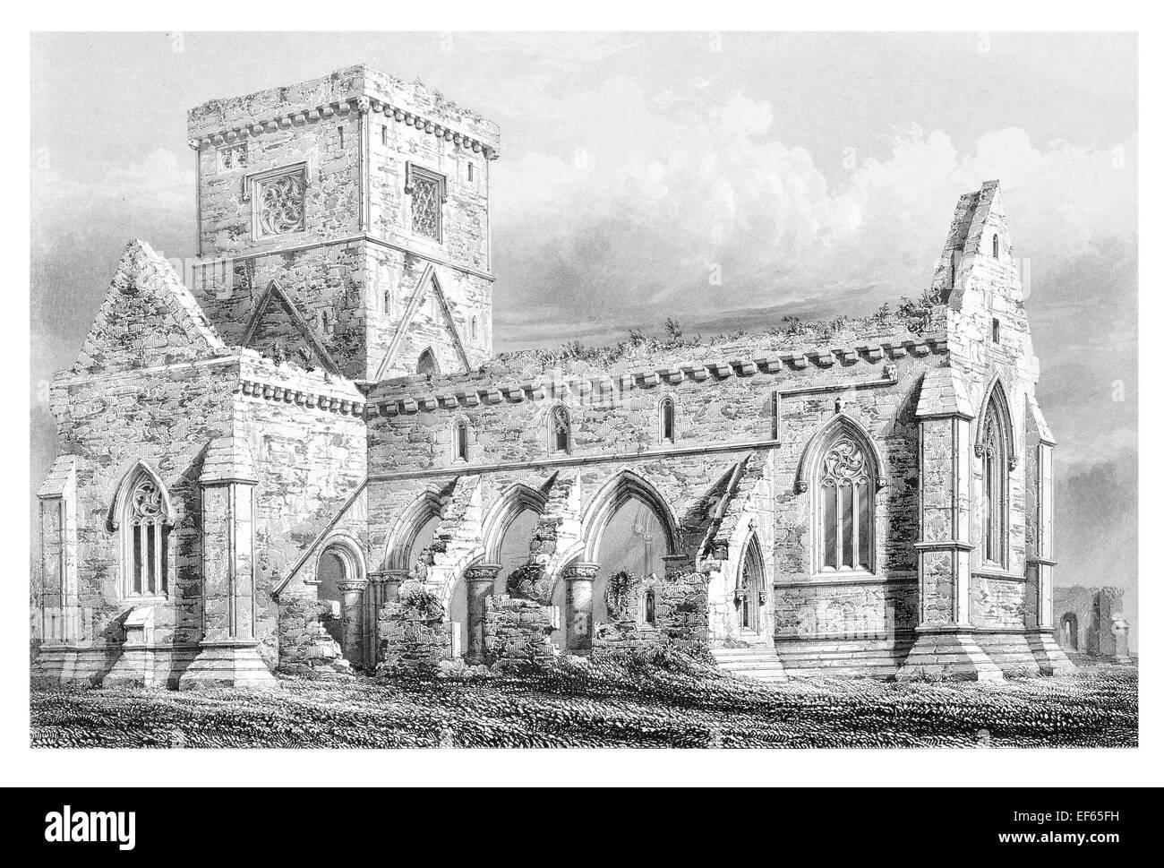 1852 Iona Abbey  ecumenical church Chaluim Chille Inner Hebrides Ross Mull  Gaelic monasticism Saint Columba Stock Photo