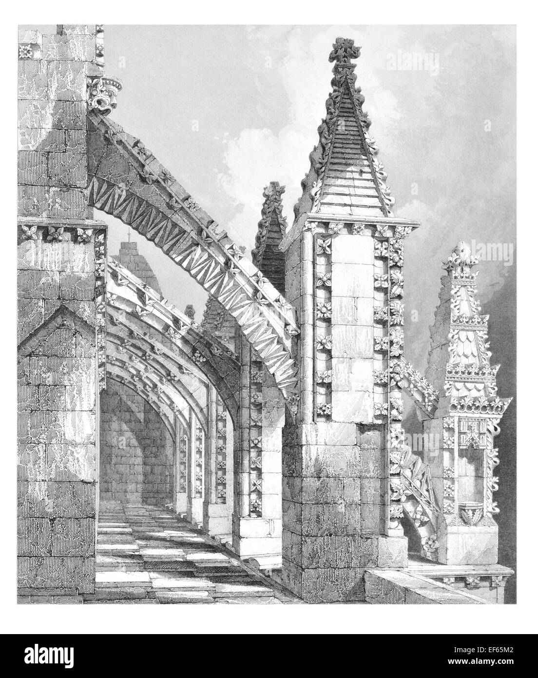 1852 Flying Buttress and Pinnacles Rosslyn  Catholic Collegiate Chapel of St Matthew Midlothian privately owned. Stock Photo