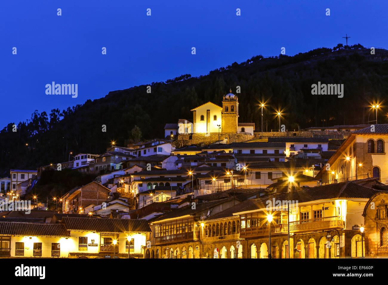 San Cristobal Church and city lights, Cusco, Peru - Stock Image