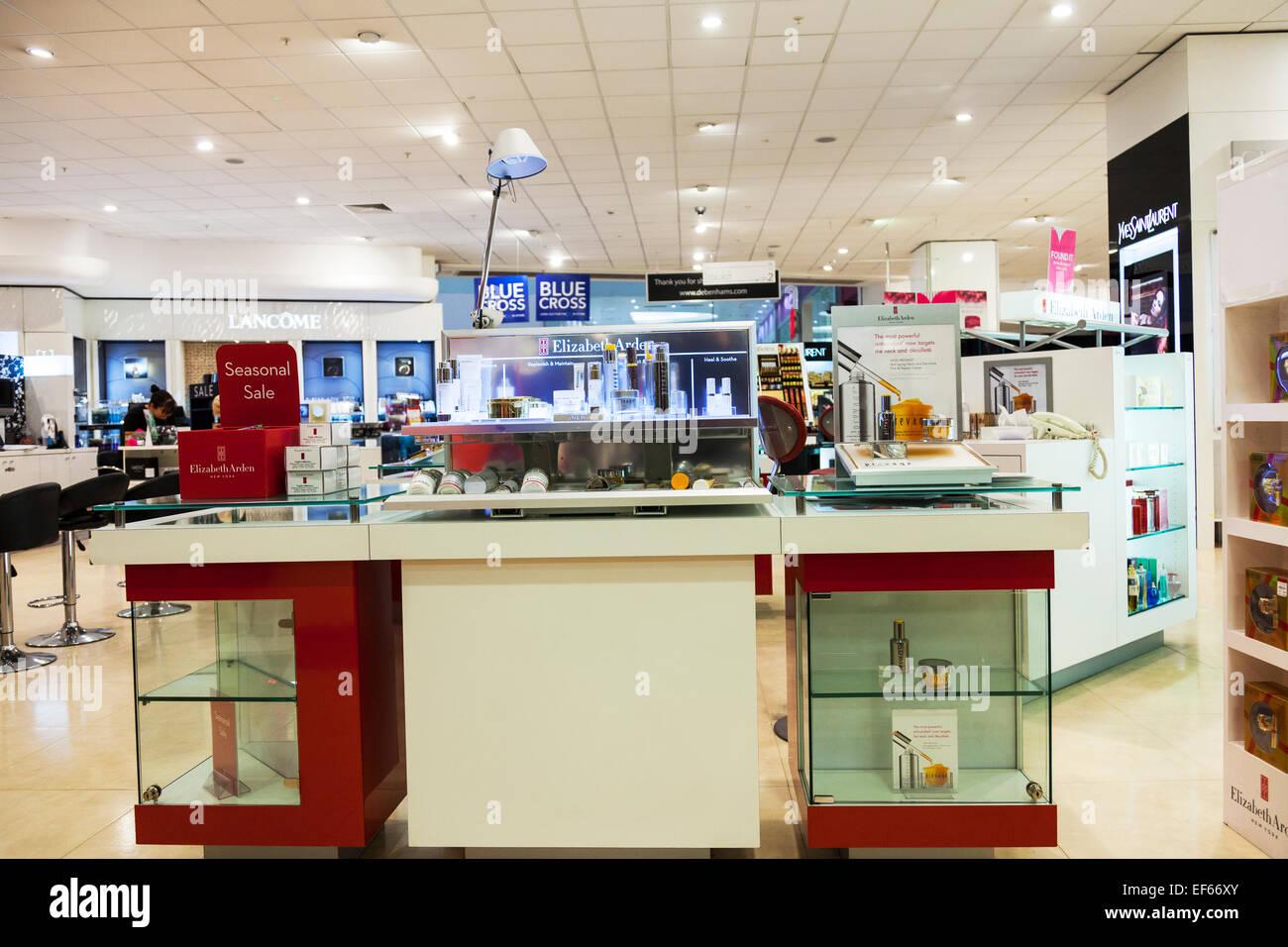House of Fraser perfume and makeup department Lancome Elizabeth Arden Yves saint Laurent UK England shop store inside - Stock Image