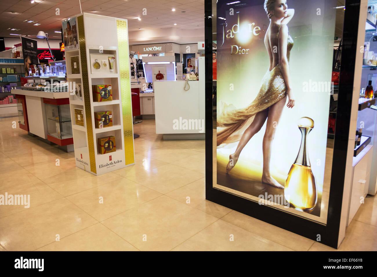 House of Fraser perfume and makeup department Dior Lancome Elizabeth Arden J'adore UK England  shop store inside - Stock Image