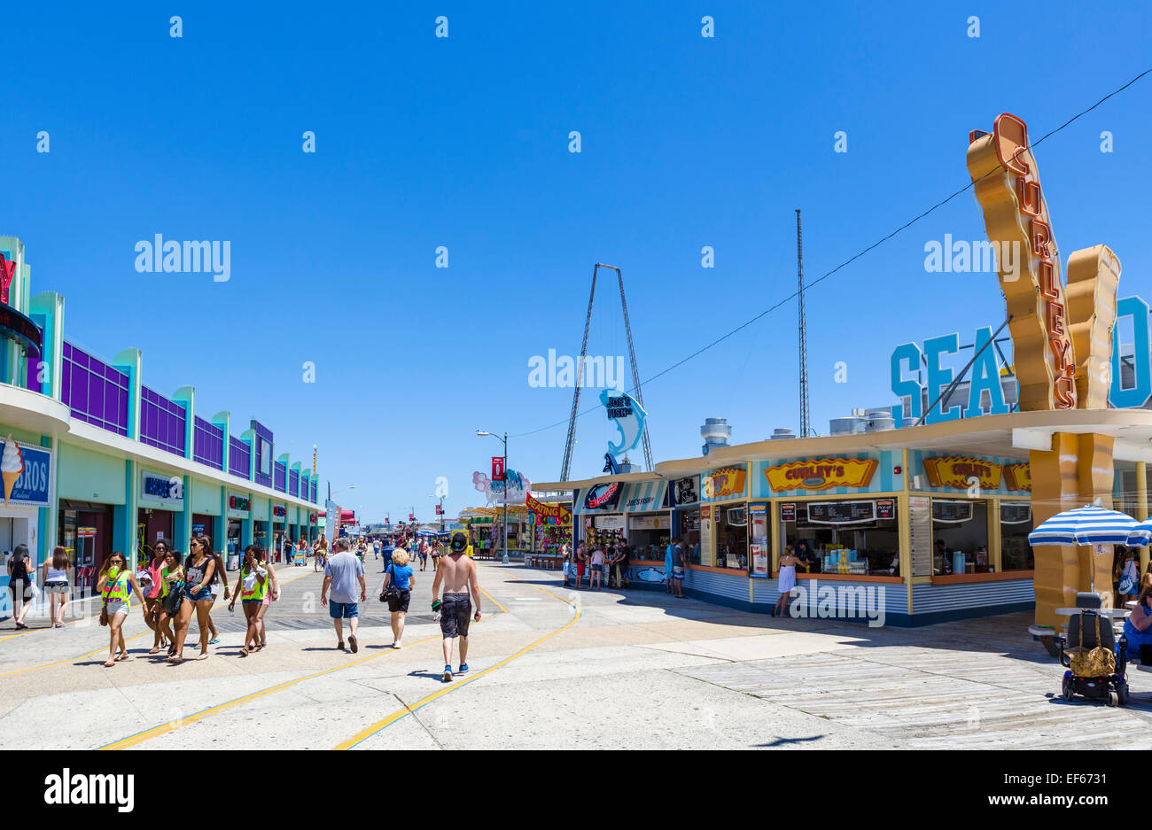 The boardwalk in North Wildwood, Cape May County, New Jersey, USA - Stock Image