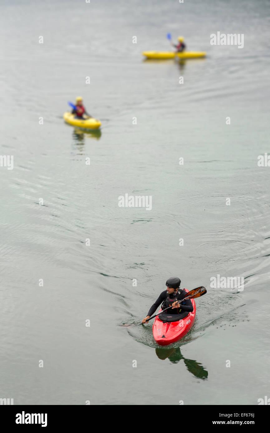 Kayaking on Lake Bohinj, Bohinjska, Slovenia Stock Photo