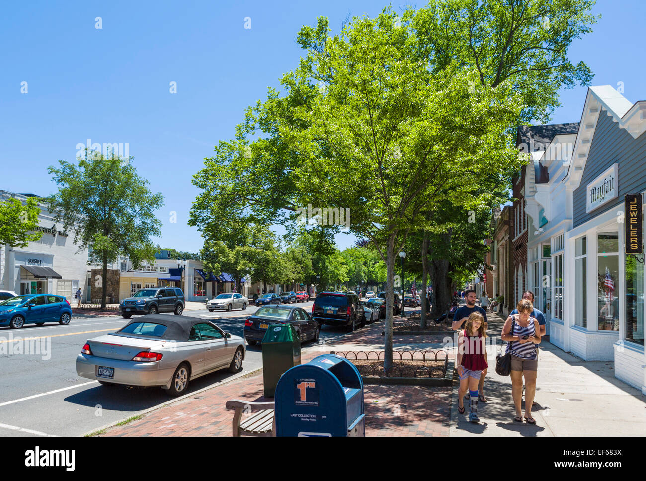 Main Street in the village of East Hampton, Suffolk County, Long Island , NY, USA - Stock Image