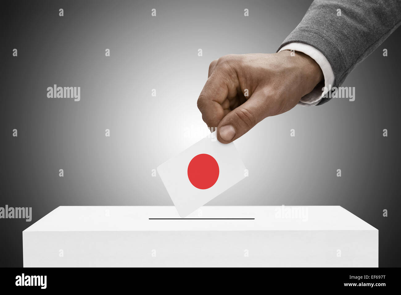 Ballot box painted into national flag colors - Japan Stock Photo