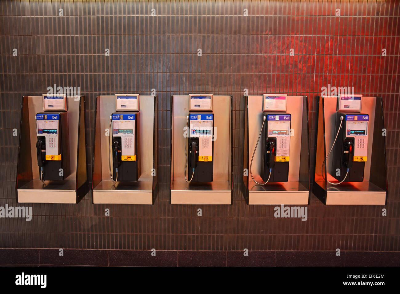 Public Phones, Toronto, Canada - Stock Image