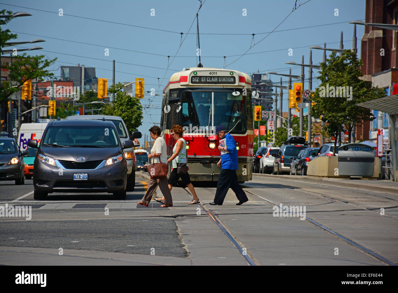 Crosswalk In Toronto street, Canada - Stock Image