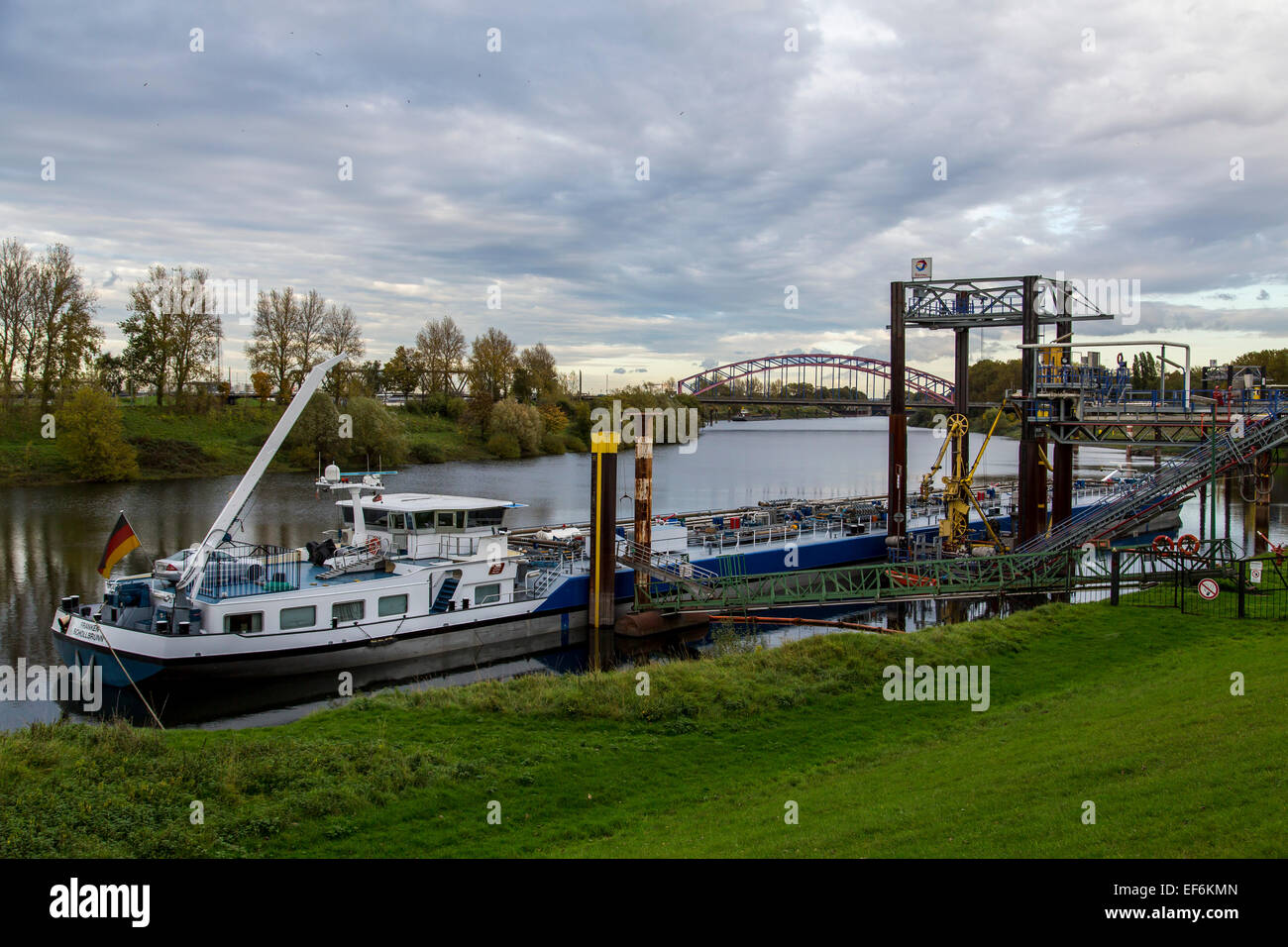 Duisburg-Ruhrort, Europe's largest inland port, river Rhine, fuel and oil products loading station - Stock Image