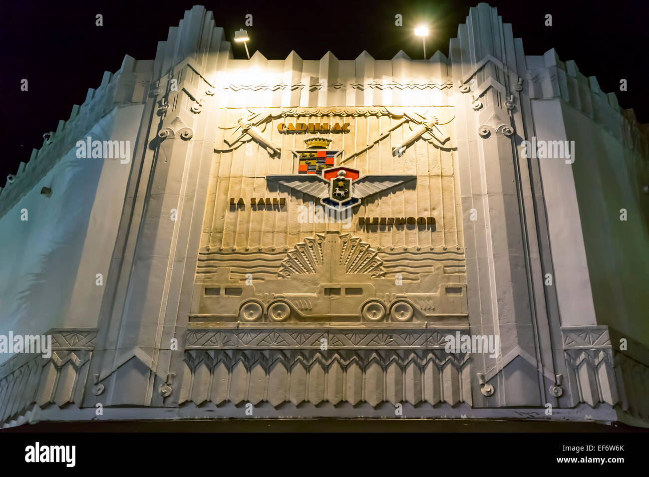 Historic Cadillac La Salle Fleetwood Marquee sign in bas-relief on an Art Deco facade along Lincoln Road Mall in Stock Photo