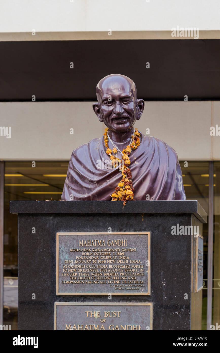 Bust of Mahatma Gandhi, outside main library  Edmonton, Alberta, Canada - Stock Image