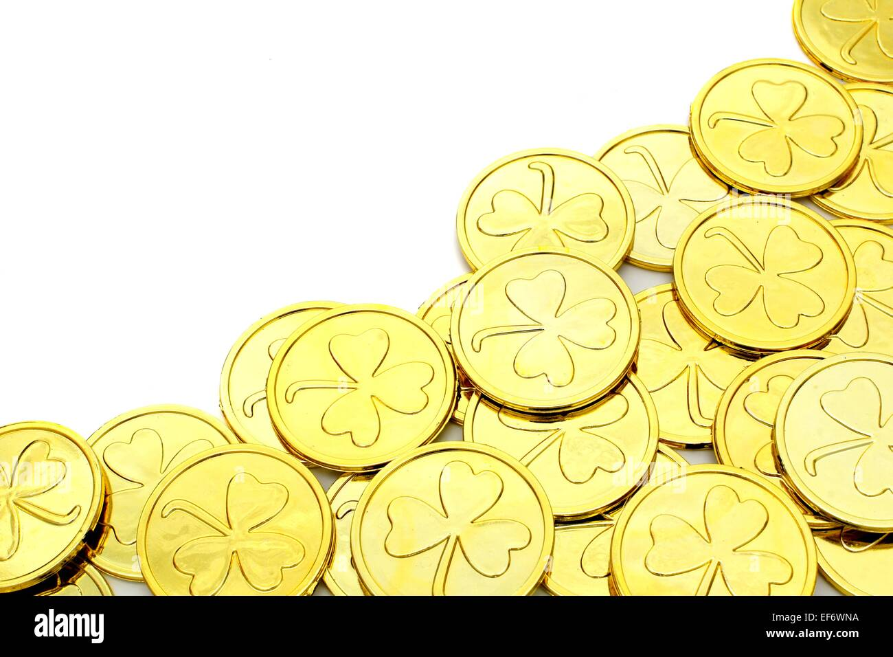 St Patricks Day Gold Coin Corner Border Over A White Background