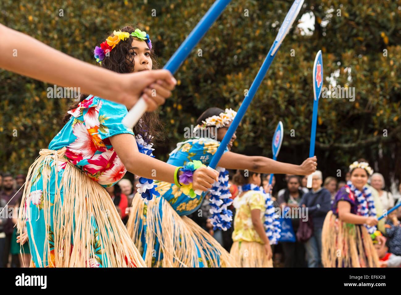 Urban Zendath Kes, a Sydney based Torres Strait Islander dance group performing in the rain, Yabun Festival Australia - Stock Image